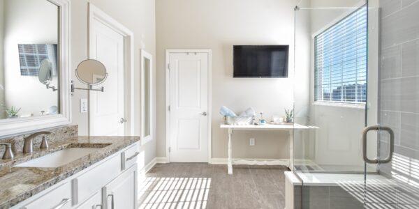 A newly remodeled bathroom